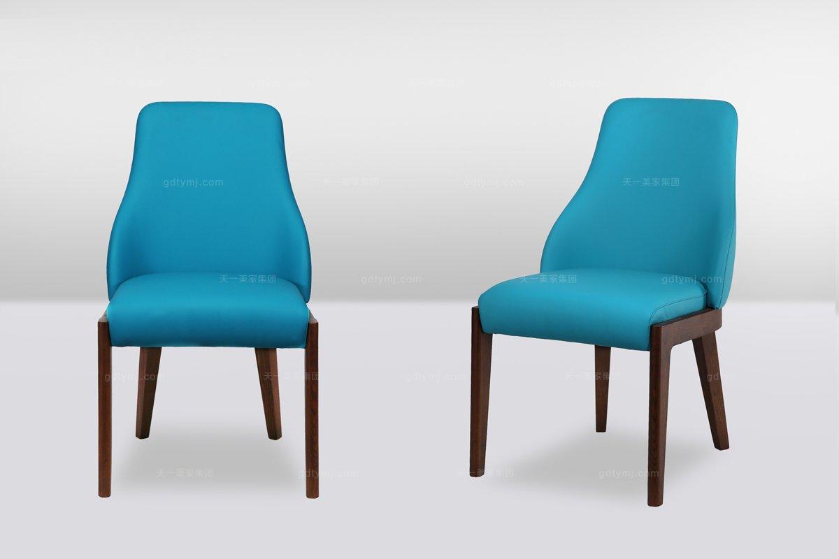 高端时尚简欧实木蓝色休闲椅