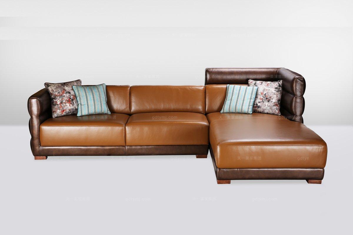 高端品牌简欧真皮转角沙发