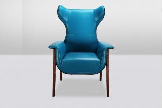 高端时尚简欧大气蓝色真皮休闲椅