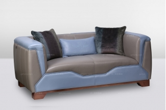 高端时尚简欧大气别墅会所真皮二位沙发