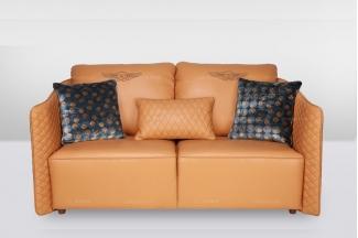 高端品牌简欧橙色真皮二位沙发