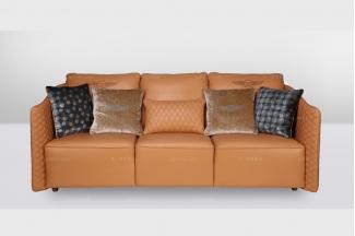 高端品牌简欧橙色真皮三位沙发
