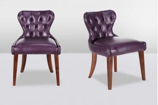 高端时尚简欧紫色真皮休闲椅