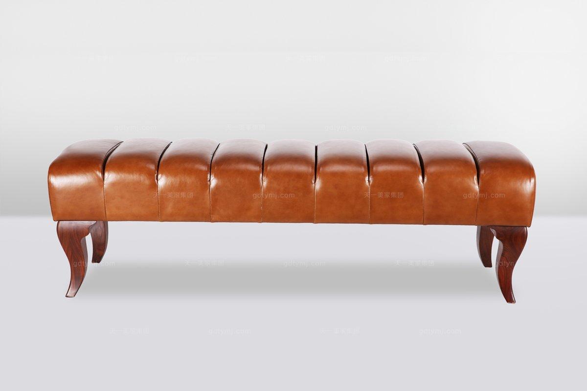 高端品牌简欧真皮咖啡色长尾凳