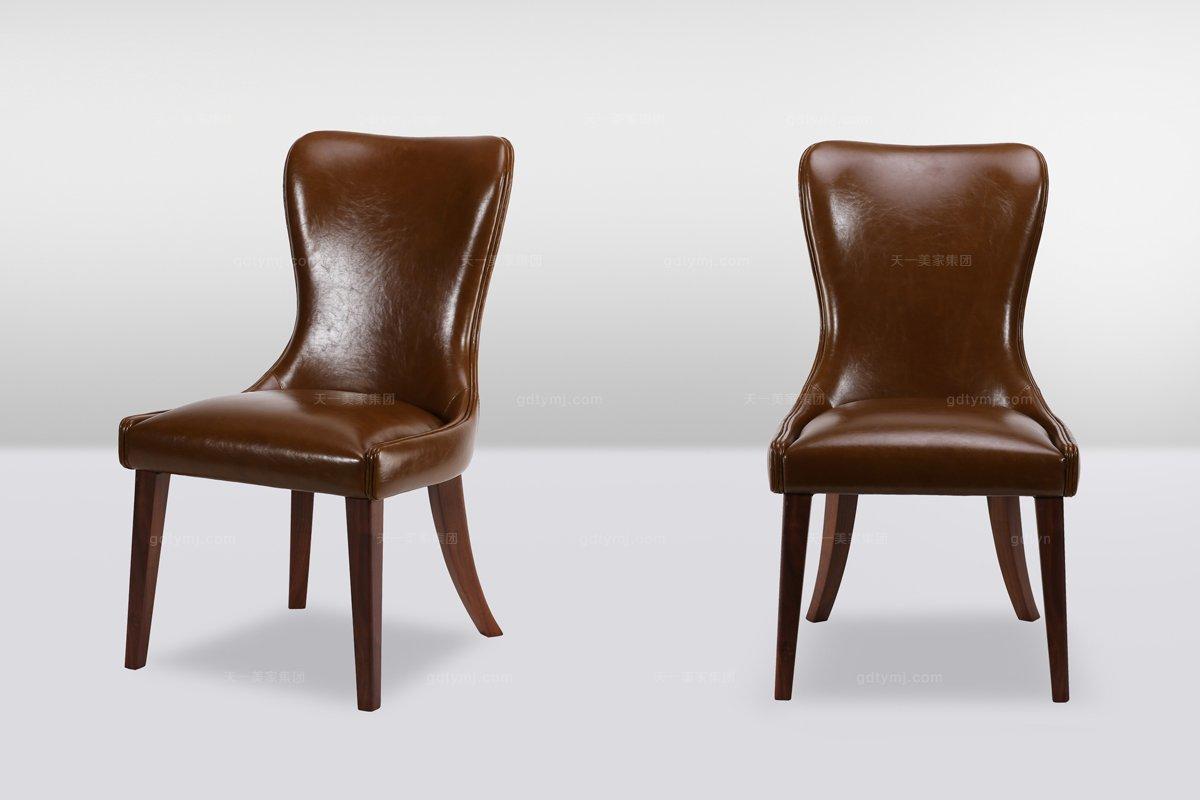 高端时尚简欧实木真皮休闲椅