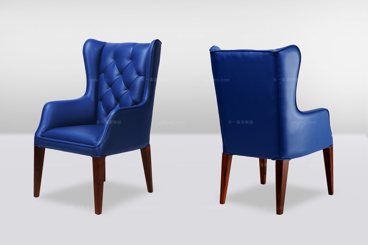 高端时尚简欧蓝色拉扣真皮休闲椅