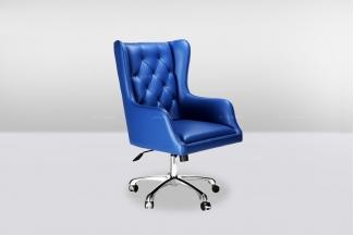 高端时尚简欧蓝色真皮转椅