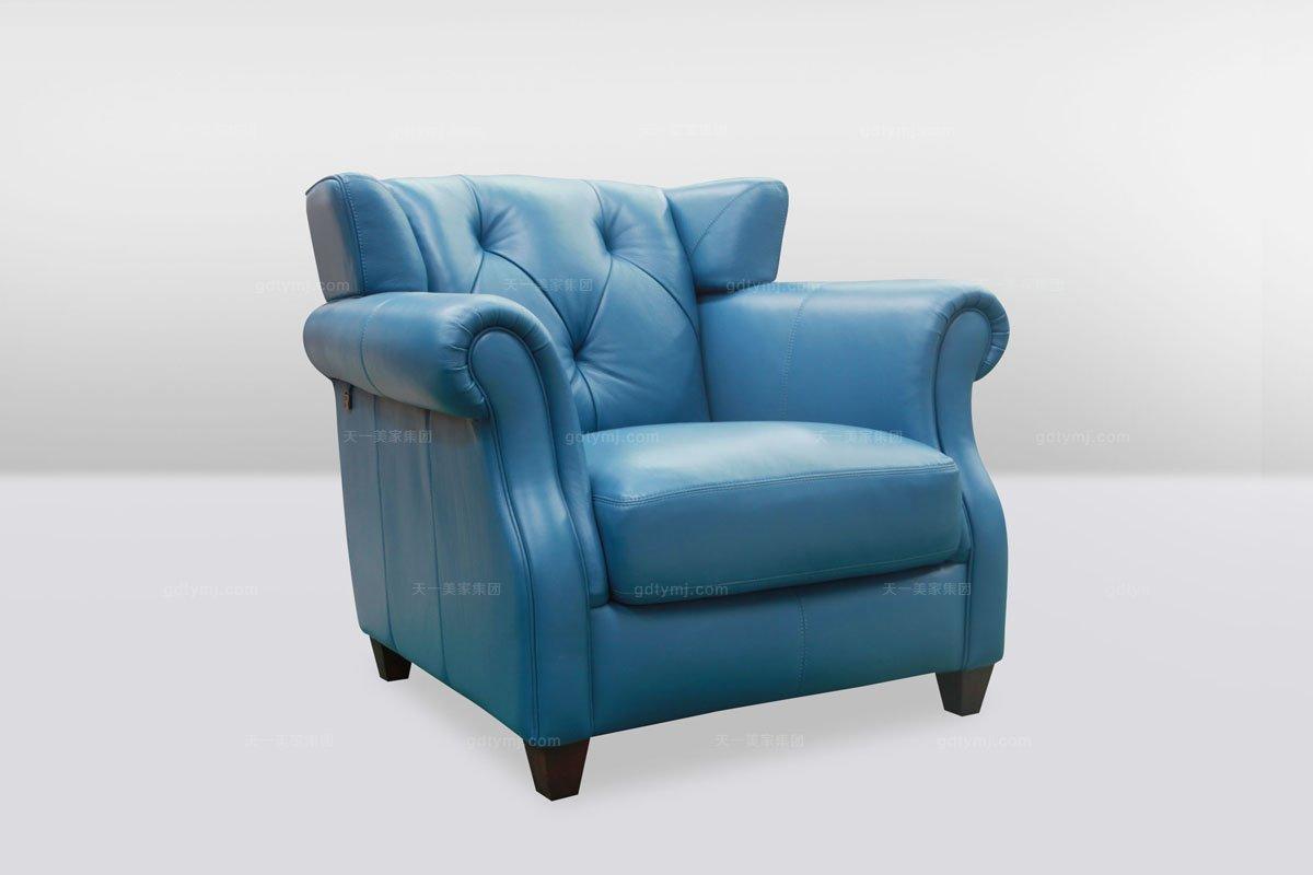 高档时尚简欧别墅会所蓝色真皮单位沙发