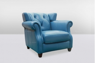 高端时尚简欧别墅会所蓝色真皮单位沙发