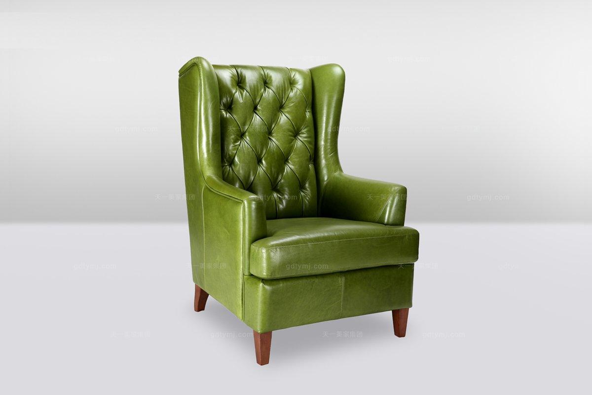 高端时尚简欧黄色真皮拉扣单位沙发