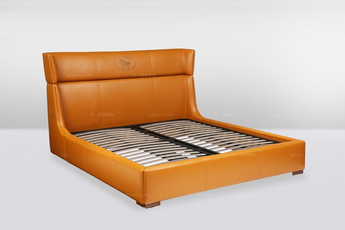 高端时尚简欧橙色真皮双人床