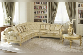 Pigoli 皮沟里欧式布艺雕花休闲沙发