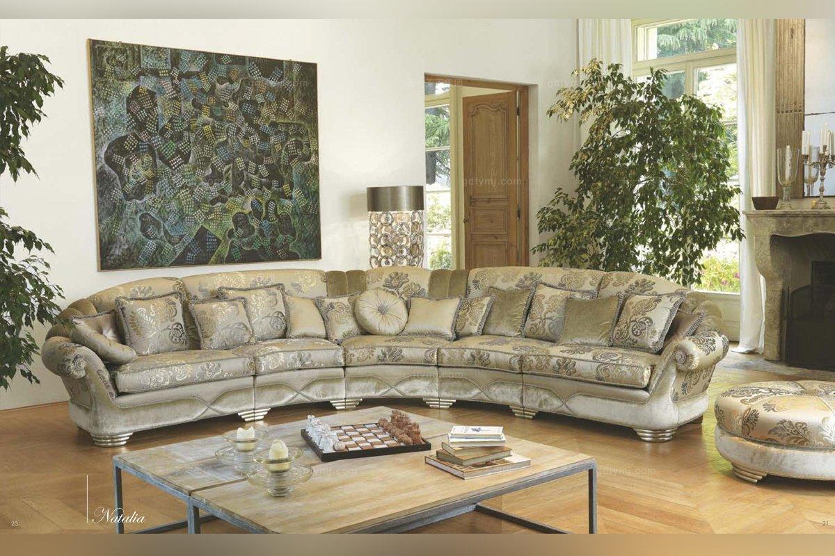 Pigoli 皮沟里花型布艺弧形多位沙发客厅系列