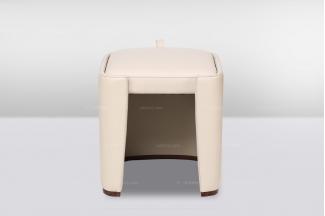 高端品牌简欧白色真皮妆凳