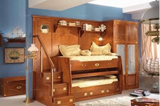 Caroti 卡若缇实木框架露木色上下床卧室系列