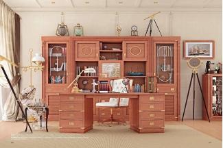 Caroti 卡若缇实木框架白色皮质书椅+原木色书房系列