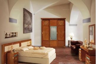 Caroti 卡若缇实木框架露木色+皮质沙发卧室系列