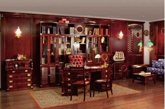 Caroti 卡若缇实木框架皮质书椅+深色书房系列