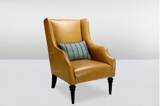 高端时尚简欧黄色真皮单位沙发