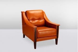 高端时尚简欧橙色真皮单位沙发