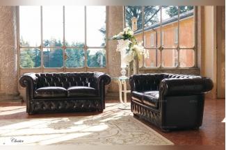 Pigoli 皮沟里黑色皮质实木框架沙发客厅系列