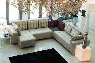 Pigoli 皮沟里灰色皮革转角沙发客厅系列