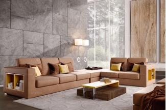 Caroti 卡若缇实木框架黄色转角沙发客厅系列