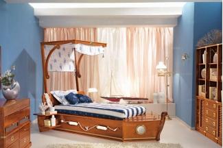 Caroti 卡若缇实木框架露木色船型床卧室系列