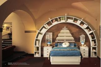 Caroti 卡若缇实木框架白色船型床卧室系列