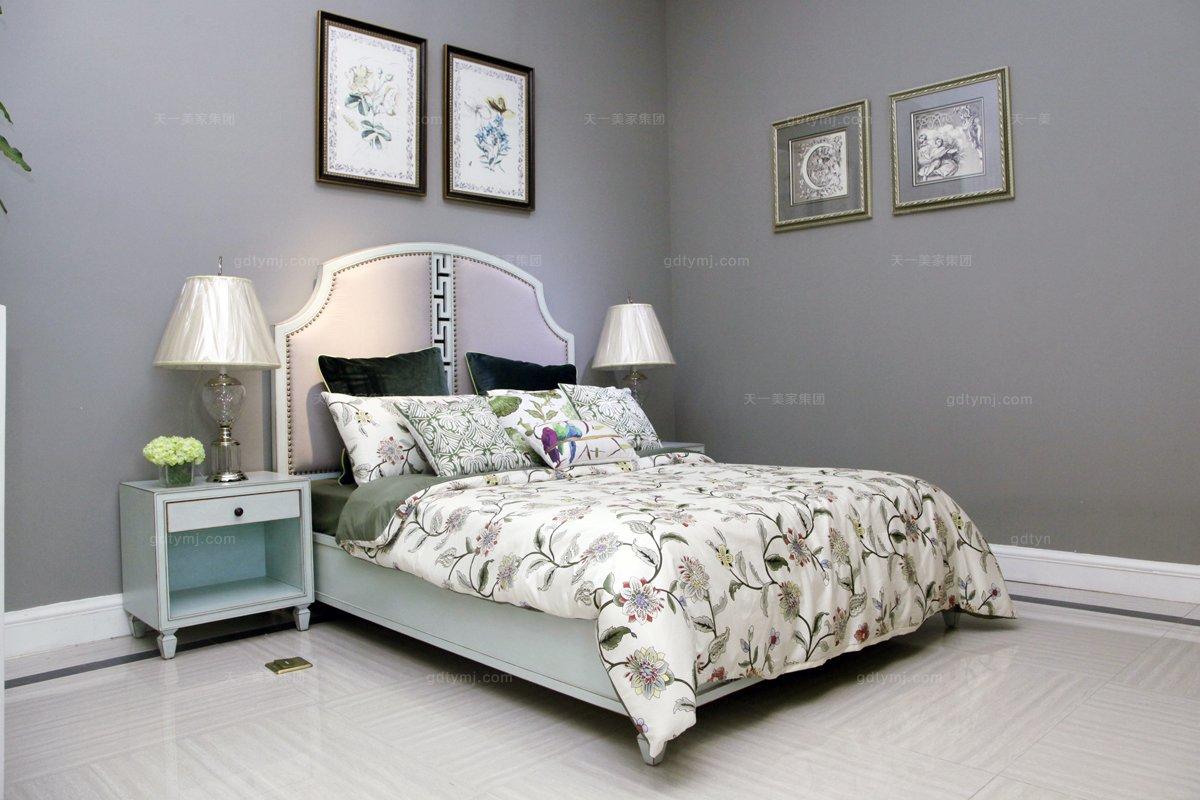 高端时髦美式风情粉蓝浪漫系列双人床