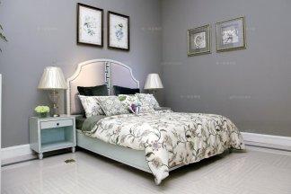 高端时尚美式风情粉蓝浪漫系列双人床