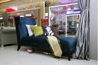 高端时尚美式蓝色布艺贵妃床