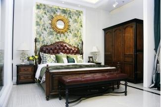高端品牌美式风格卧房系列真皮双人床组合