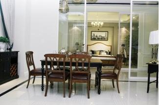 高端品牌美式风格实木长餐台餐椅组合