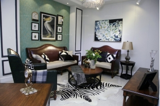 高端品牌美式风格客厅系列真皮沙发组合