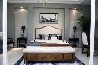 高端品牌美式实木实用型双人床组合
