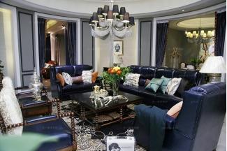 高端品牌美式风格紫色真皮客厅沙发组合