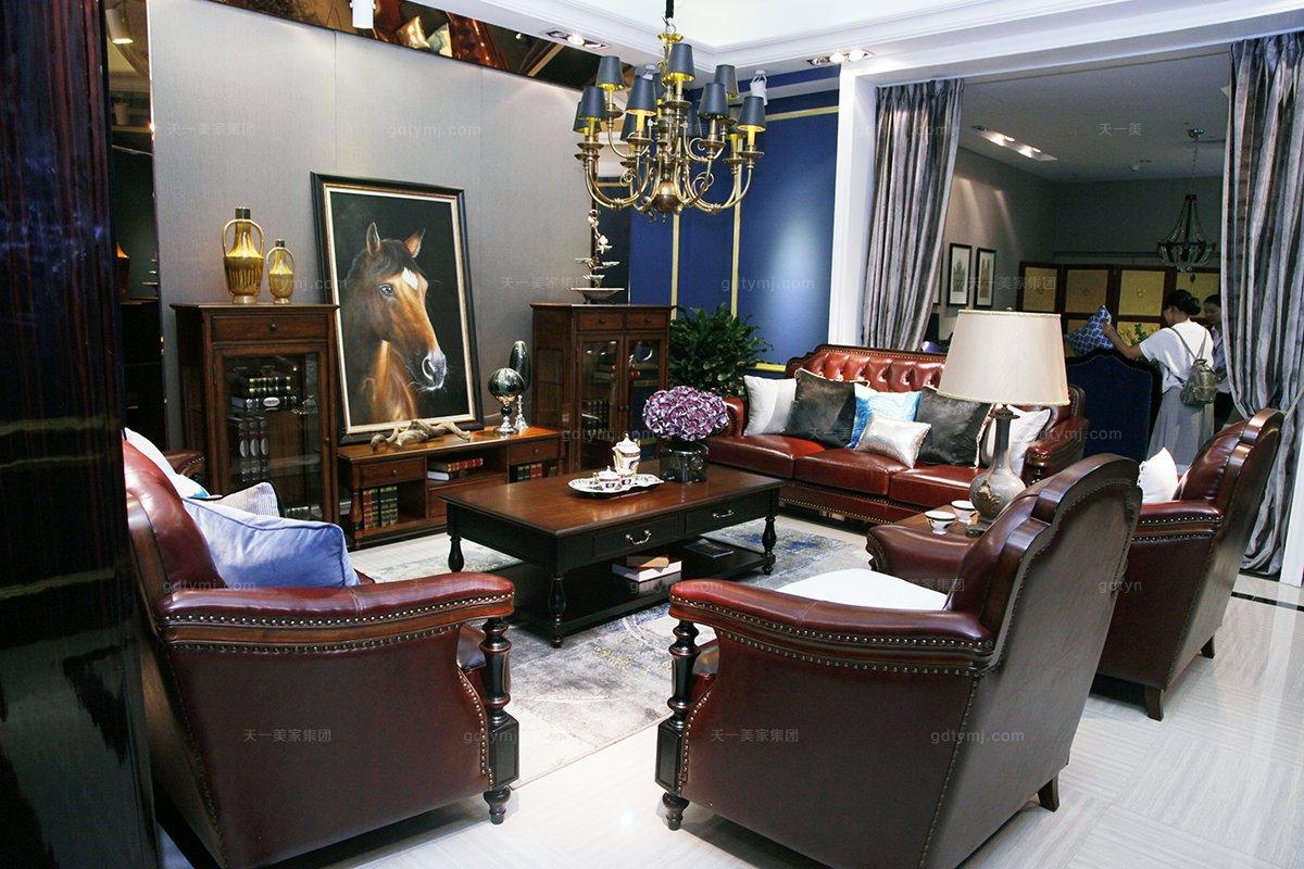 高端品牌美式红色真皮沙发组合