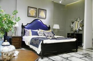 高端品牌美式蓝色真皮实木双人床