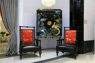 高端时尚美式实木彩绘装饰柜休闲椅组合