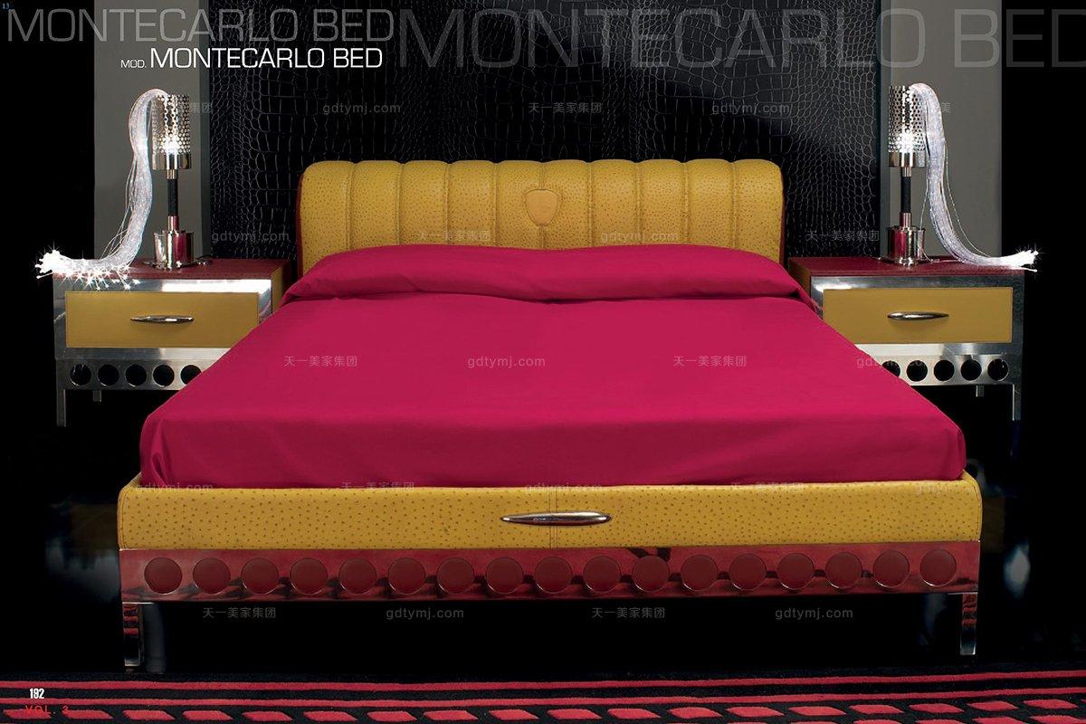 高端品牌现代风格意大利进口兰博基尼系列鸵鸟皮双人床