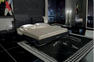 高端品牌现代风格意大利进口兰博基尼系列黑色真皮双人床