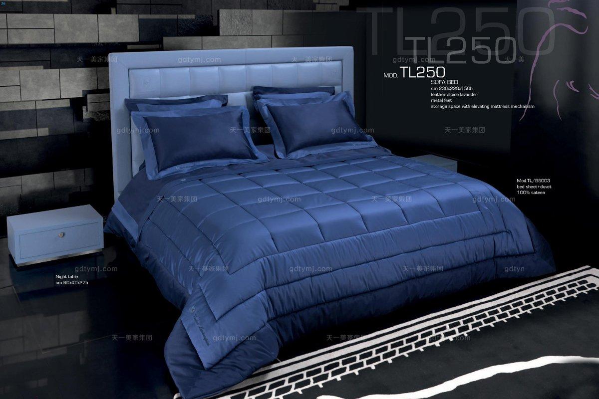高端时尚现代意大利进口兰博基尼系列蓝色双人床
