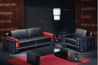 高端品牌现代意大利进口兰博基尼系列黑色真皮沙发