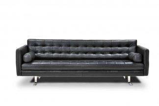 高端品牌现代必发88客户端进口黑色四位沙发