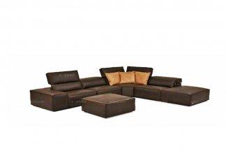 高端品牌现代意大利进口棕色转角沙发
