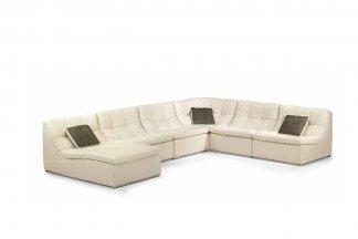 高端时尚现代意大利进口别墅会所白色真皮转角沙发