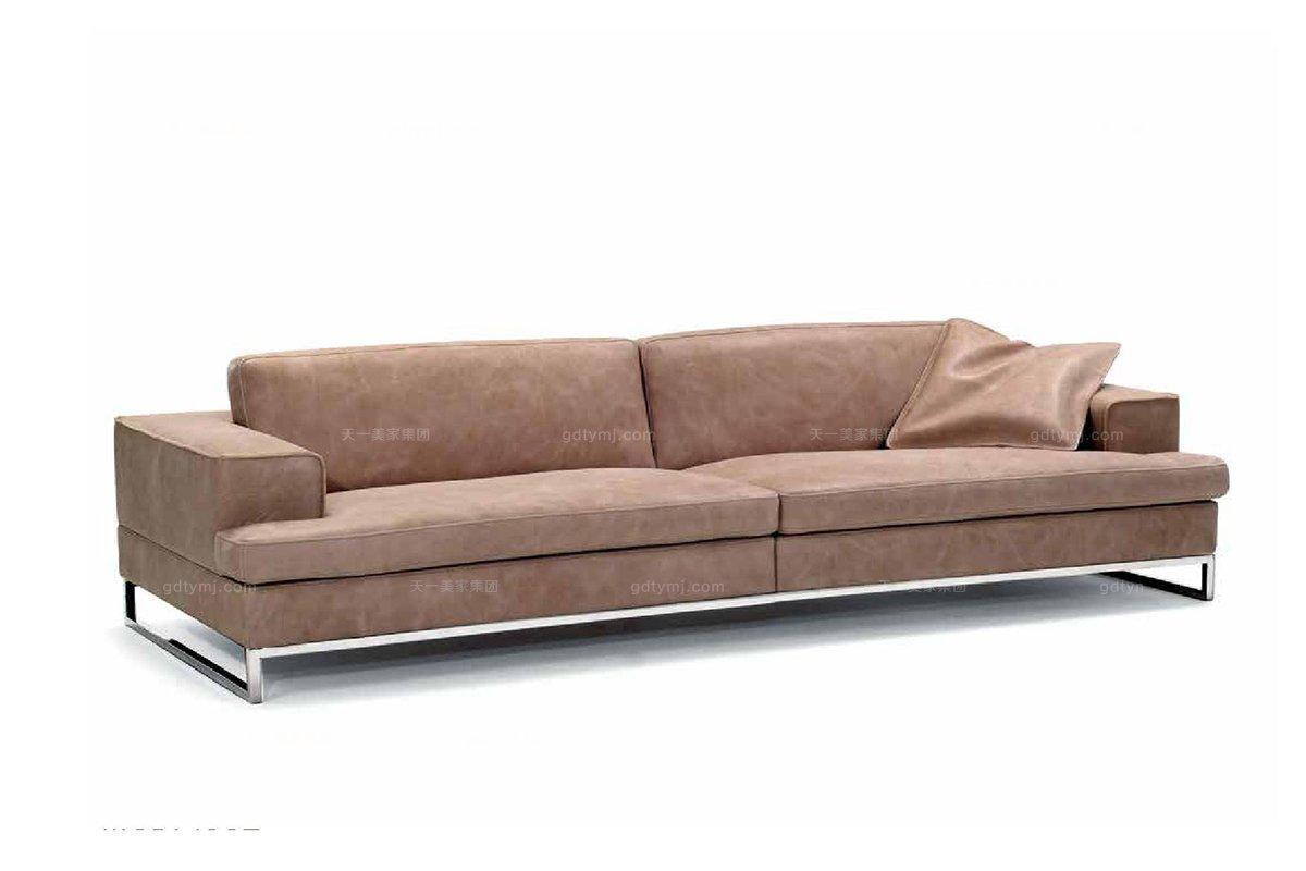 高端品牌现代意大利进口浅咖色三人沙发