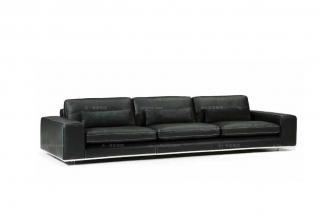 高端品牌现代意大利进口黑色三人沙发