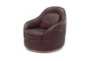 高端品牌现代意大利进口咖色真皮单人沙发